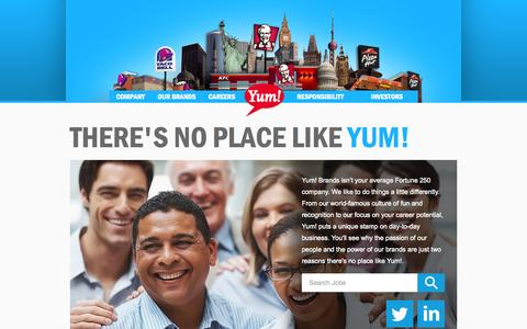 Screenshot of Jobs Page yum.com - Yum! Brands - Defining Global Company that Feeds the World - captured Oct. 31, 2014