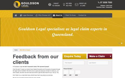Screenshot of Testimonials Page gouldson.com.au - Feedbacks and Testimonials about Gouldson Legal - captured Oct. 3, 2014