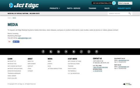 Screenshot of Press Page jetedge.com - Media | Jet Edge Waterjet Systems - captured Oct. 13, 2018