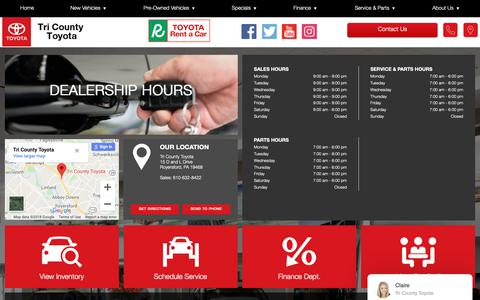 Screenshot of Hours Page tricountytoyota.com - Hours of Operation - Tri County Toyota - captured Oct. 24, 2018
