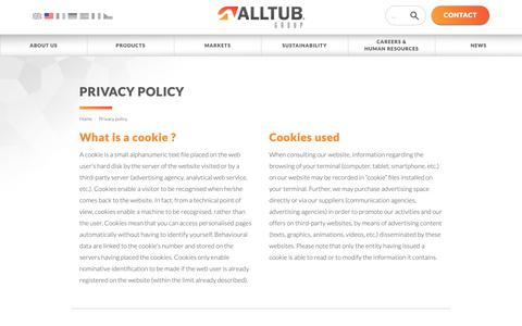 Screenshot of Privacy Page alltub.com - Privacy policy | ALLTUB - captured Oct. 2, 2018
