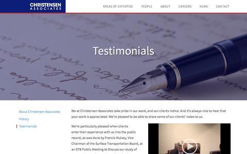 Screenshot of Testimonials Page lrca.com - Testimonials - Christensen Associates - captured Jan. 26, 2016