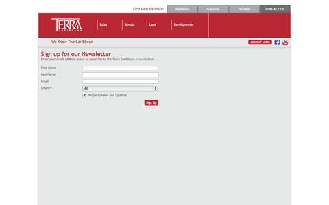 Screenshot of Signup Page terracaribbean.com - Terra Caribbean   Terra Caribbean - captured Oct. 30, 2014