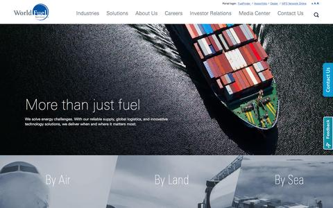 Screenshot of Home Page wfscorp.com - More than just fuel – World Fuel Services, fueling success globally - captured Sept. 8, 2016