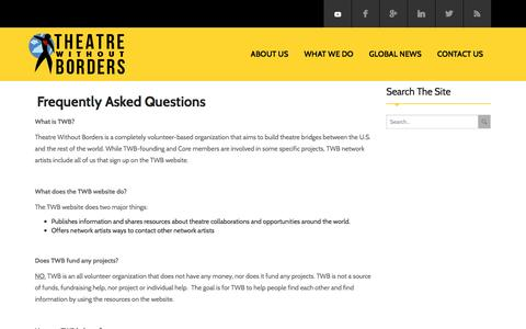 Screenshot of FAQ Page theatrewithoutborders.com - Frequently Asked Questions - Theatre Without BordersTheatre Without Borders - captured May 4, 2016