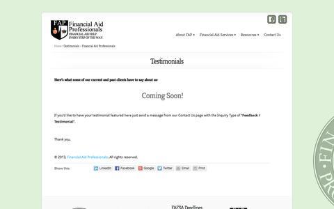 Screenshot of Testimonials Page financialaidpros.com - Testimonials - Financial Aid Professionals - captured Oct. 5, 2014