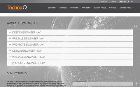 Screenshot of Jobs Page technoq.com - CAREERS - Techno Q - captured Sept. 20, 2018