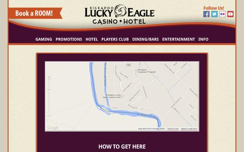 Screenshot of Maps & Directions Page luckyeagletexas.com - Kickapoo Lucky Eagle Casino Hotel  in Eagle Pass, Texas!  | Directions - captured Oct. 6, 2014