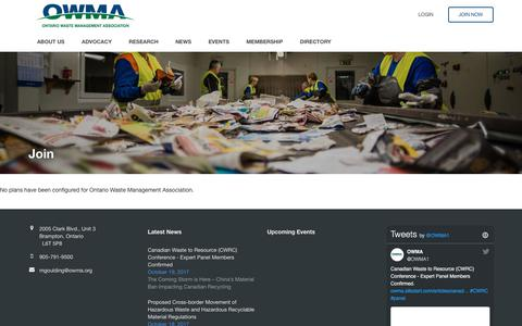 Screenshot of Signup Page owma.org - Ontario Waste Management Association - captured Oct. 20, 2017