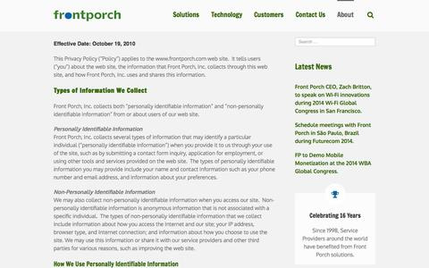 Screenshot of Privacy Page frontporch.com - In-Browser Notifications by Front Porch  –  Network Based Messaging for Cable, Telco, Mobile, and Wi-Fi Broadband Networks, Hotspot 2.0 Passpoint Branding Monetization   –  Privacy Policy - captured Oct. 6, 2014