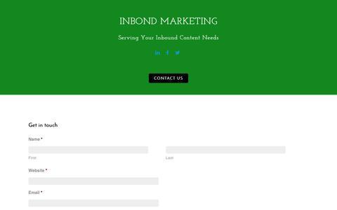 Screenshot of Contact Page inbondmarketing.com - Contact Us - InBond Marketing - captured July 2, 2016