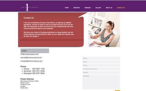 Screenshot of Contact Page oneavenuegroup.com - Contact Us - captured Dec. 19, 2016