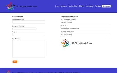 Screenshot of Contact Page globalstudytours.com - Contact | L&Z Global Study Tours - captured Oct. 1, 2014