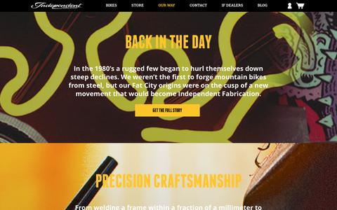 Screenshot of About Page ifbikes.com - Independent Fabrication - Custom Bicycles. Handmade in the USA. - About - captured Dec. 12, 2015