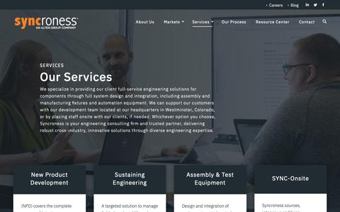 Screenshot of Services Page syncroness.com - Syncroness | Engineering Solutions Company in Denver | Our Services - captured June 20, 2019
