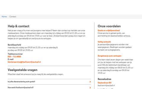 Screenshot of Contact Page ikwilvanmijnautoaf.nl - Help en Contact - captured July 21, 2019