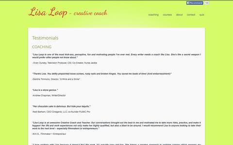 Screenshot of Testimonials Page lisaloop.com - Testimonials | Lisa Loop - Creative Coaching - captured Oct. 2, 2014