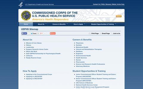 Screenshot of Site Map Page usphs.gov captured Sept. 19, 2014
