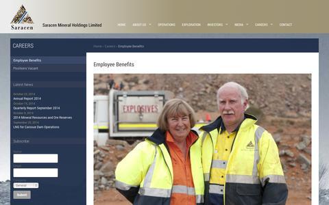 Screenshot of Jobs Page saracen.com.au - Saracen Mineral Holdings :: Employee Benefits - captured Nov. 2, 2014