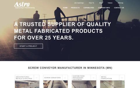 Screenshot of Home Page astroeng.com - Metal Fabrication Services MN | Food Grade Screw Conveyors & Auger Manufacturer - captured Oct. 4, 2014