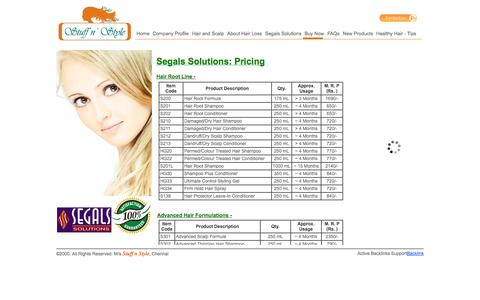 Screenshot of Pricing Page segalsolutionsindia.com - Segals Solutions India| Hair,Hair Loss,Hairloss,Alopecia,Baldness,Thinning Hair,Androgenetic Alopecia,Hair Fall,Healthy Hair,Hair Wellness,Arresting Hair loss without Drugs,Glowing Skin,Hair and Skin,Scalp,Scalp Wellness,Natural solutions for hair lo - captured Oct. 3, 2014