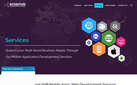 Screenshot of Services Page ecosmob.com - Application Development Services   VoIP, Mobile, Web, IPTV, IoT, Wearable Apps - captured Sept. 27, 2018