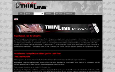 Screenshot of Testimonials Page thinlineglobal.com - Saddle Pad Tack ReviewsThinLine Global Saddle Pads and Horse Tack - captured Oct. 7, 2014