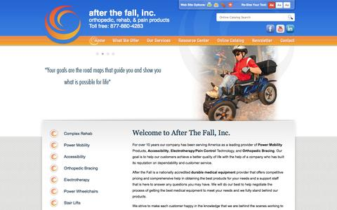 Screenshot of Home Page afterthefallinc.com - After The Fall, Inc. :: Supplying durable medical equipment and orthotic bracing - captured Oct. 4, 2014