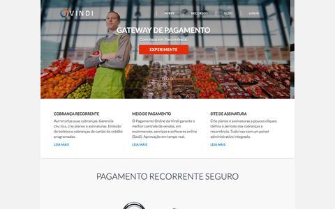 Screenshot of Home Page vindi.com.br - Vindi - Pagamento Recorrente, Controle de Assinaturas e Gateway de Pagamento - captured Sept. 18, 2014