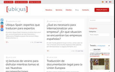 Screenshot of Blog ubiqus.es - Blog - Ubiqus Spain - captured Oct. 18, 2018