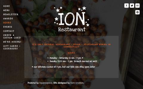 Screenshot of Hours Page ionrestaurant.com - Hours — It's Only Natural Restaurant - captured Feb. 11, 2016