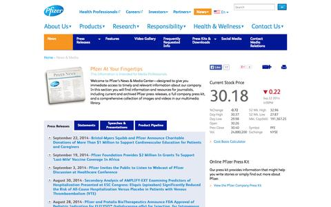Screenshot of Press Page pfizer.com - Pfizer Pharmaceutical News and Media | Pfizer: One of the world's premiere biopharmaceutical companies - captured Sept. 19, 2014