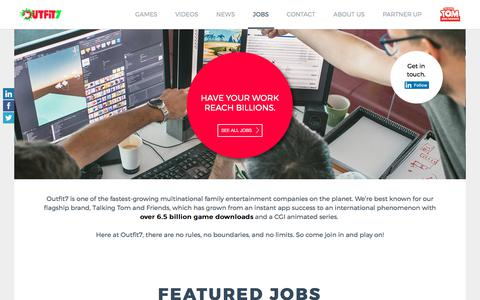 Screenshot of Jobs Page outfit7.com - Outfit7 - Jobs - captured Oct. 31, 2017