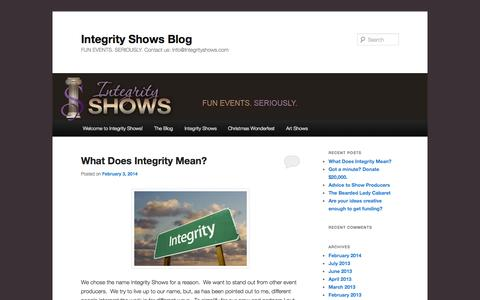 Screenshot of Blog integrityshows.com - Integrity Shows Blog | FUN EVENTS. SERIOUSLY. Contact us: Info@Integrityshows.com - captured Sept. 30, 2014