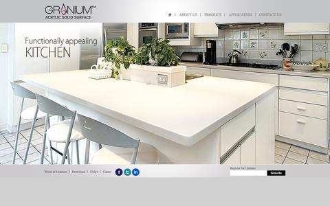 Screenshot of Home Page granium.com - GRANIUM Acrylic Solid Surface - captured Sept. 26, 2014