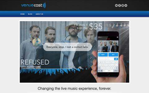 Screenshot of Home Page venuecast.com - Venuecast | Changing the live music experience, forever. - captured Aug. 13, 2015