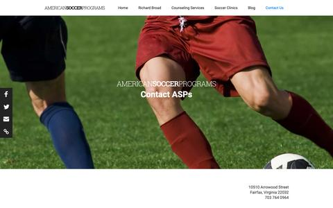 Screenshot of Contact Page americansoccerprograms.com - American Soccer Programs Contact Us - captured Nov. 29, 2018