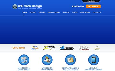Screenshot of Home Page jpgwebdesign.com - JPG Web Design | Raleigh, Apex, Cary, Holly Springs, Fuquay Web Design - captured Sept. 30, 2014