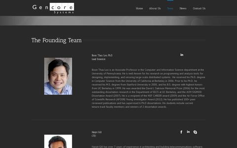Screenshot of Team Page gencoresystems.com - Gencore Systems | An SDN Applications Company   –  Team - captured July 19, 2014