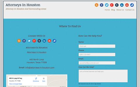 Screenshot of Contact Page attorneys-in-houston.com - Contact Us | Attorneys in Houston - captured Sept. 26, 2014