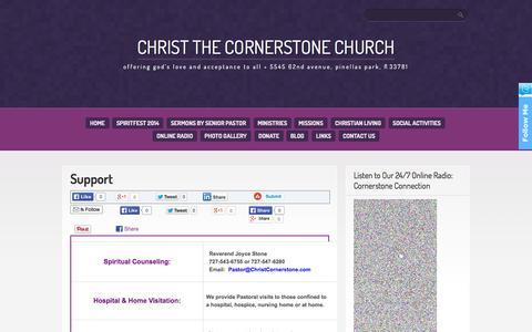 Screenshot of Support Page christcornerstone.com - Support - Christ the Cornerstone Church - captured Oct. 2, 2014