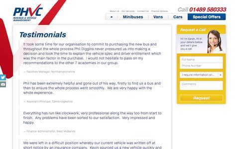 Screenshot of Testimonials Page phvc.co.uk - Customer Testimonials | PHVC - captured Oct. 1, 2014