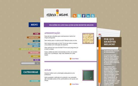 Screenshot of Home Page escrevamelhor.com.br - Soluções on-line para quem quer escrever melhor | Escreva Melhor - captured Sept. 30, 2014