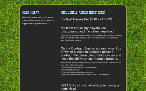 Screenshot of Support Page run-games.com - Support | Football Heroes - captured Jan. 24, 2016