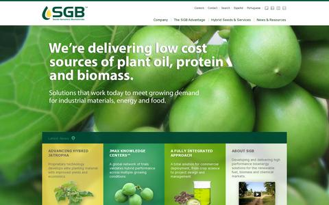 Screenshot of Home Page sgbiofuels.com - Jatropha: Feedstock for Biodiesel, Jet Fuel and Specialty Chemicals - captured July 11, 2014