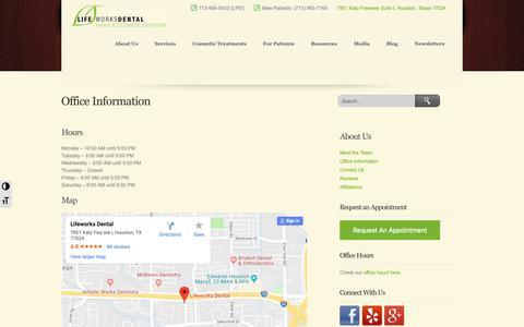 Screenshot of Maps & Directions Page lifeworksdental.com - Lifeworks Dental | Memorial Houston Dentist | Cosmetic Dentist in Memorial Houston | Lifeworks Dental - captured Nov. 5, 2018