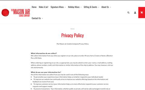 Screenshot of Privacy Page masonjarcookiecompany.com - Privacy Policy - captured Dec. 10, 2018