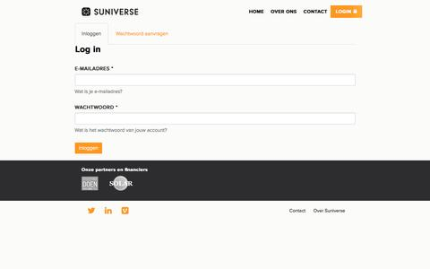 Screenshot of Login Page suniverse.nl - Login | Suniverse - captured Dec. 10, 2016