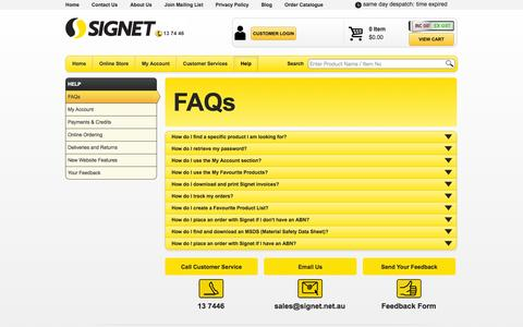 Screenshot of FAQ Page signet.net.au - Help - Frequently Asked Questions | Signet - captured Sept. 19, 2014