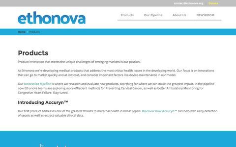 Screenshot of Products Page ethonova.org - Products - Ethonova - captured Dec. 6, 2016